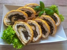 Cheese roulade with chicken and mushrooms Antipasto, Party Snacks, Catering, Stuffed Mushrooms, Food And Drink, Appetizers, Cooking Recipes, Favorite Recipes, Chicken