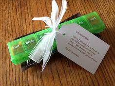 """Fun gift for stressed out friends...M's in a pill box along with a """"refill"""" bag and """"prescription."""""""