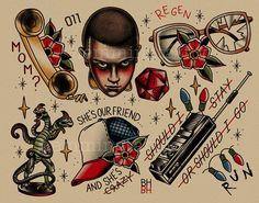 This tattoo flash art print:
