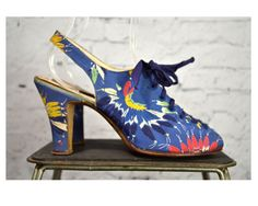 Vintage 1930's Peep Toe Sling Back Shoes / Blue Fabric w/ Colorful Design 30's Shoes w/ Lace up Fronts by Marilyn Footwear by Juilenne