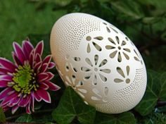 Eggshell of Polish goose - handmade sculpted #96 - transparent easter carved egg ornament decoration unique gift pysanka ażurowa pisanka by CEMBOLA on Etsy