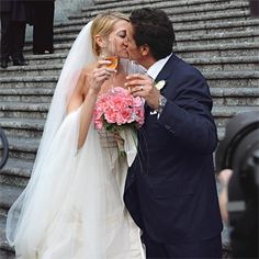 Brides.com: Sarah and Francesco in Amalfi, Italy. Honoring a Southern Italian tradition, Francesco's mother created the bridal bouquet of bright pink peonies and presented it to Sarah at the ceremony, symbolizing Sarah's induction into the family. Francesco's wedding suit was custom made by a tailor in Naples.   Location: Amalfi, Italy
