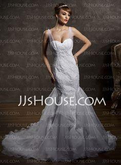 Wedding Dresses - $229.49 - Mermaid Sweetheart Chapel Train Satin  Tulle Wedding Dresses With Ruffle  Lace (002012818) http://jjshouse.com/Mermaid-Sweetheart-Chapel-Train-Satin-Tulle-Wedding-Dresses-With-Ruffle-Lace-002012818-g12818