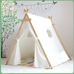 Cheap kids play tent, Buy Quality play tent directly from China children bed tent Suppliers: Lovely kid play tent white fabric teepee children bed tent indoor children paly house Diy Tipi, Kids Teepee Tent, Teepees, Play Tents, Child Teepee, Baby Tent, Indoor Tents, Tent Decorations, Kid Beds