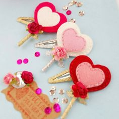 valentines love-heart-lollipop-hot-pink snap hair clip