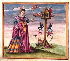 amorous fools flutter around the dovecote. album amicorum of Andreas Huber compiled between 1587 and 1609. Wurttembergische Landesbibliothek, Stuttgart, Cod. Don. 899, f.117v
