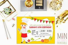 Chef Girl Birthday Invitation,Pizza Birthday Party,Pastry Chef Girl,cook invitation, chef inivtation, chef cooking invite, chef birthday by minprintable on Etsy https://www.etsy.com/listing/259145631/chef-girl-birthday-invitationpizza