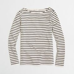 J.Crew Factory long-sleeve striped boatneck tee ($30) ❤ liked on Polyvore featuring tops, t-shirts, stripe tee, striped long sleeve t shirt, white t shirt, j crew t shirts and striped tee