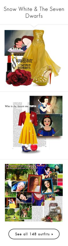 """""""Snow White & The Seven Dwarfs"""" by bgarnett92 ❤ liked on Polyvore featuring frames, art, fillers, borders, tubes, picture frame, backgrounds, Disney, Elie Saab and Christian Louboutin"""