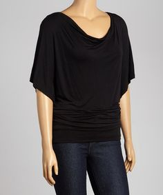Love this Black Short-Sleeve Drape Top - Plus by Poliana Plus on #zulily! #zulilyfinds