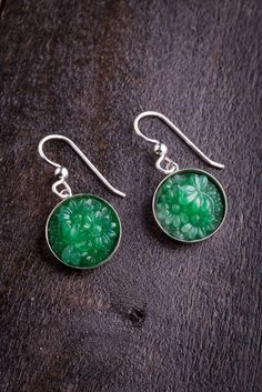 The Silver and Jade Earrings feature jade green glass hand set in sterling silver. Jade Earrings, Jade Jewelry, Drop Earrings, Antique Jewelry, Vintage Jewelry, Bourbon And Boots, Chinese Antiques, Jade Green, Diamond Are A Girls Best Friend