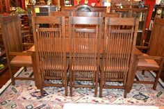 Mission Oak Dining Table & Set Of 8 High Back Dining Chairs With Spindles