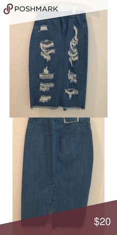 Denim Skirt Super cute denim skirt. Length goes to about your calfs. 80% Cotten, 20% polyester. Only worn a couple of times Skirts