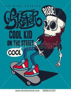 vector skateboard skull design