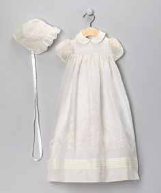 Antique White Girls Christening Gown & Bonnet - Infant