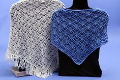 With or without a fringe, you can grace your neck with this delicate lace scarf or adorn your shoulders with this feminine shawl. It starts at the point and works larger and larger. You can decide when to stop. The Lace is worked on both the right and wrong sides. Line by line instructions as well as charts are provided in the pattern.