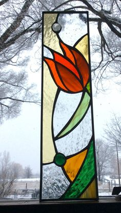 Tulip stained glass garden stake. Choice of Orange or Blue