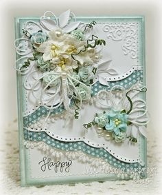 "Summer temperatures have me in the mood for lighter, softer colors mixed with bright white. For today's card, I played again with what I call ""altered edges."" I used a die designed, I think, for strai"