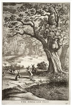 Wenceslas Hollar, The Hares and the Frogs (Aesop)
