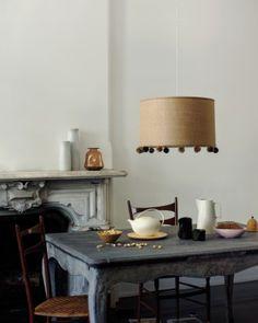 Add pom pom fringe to a hanging light shade
