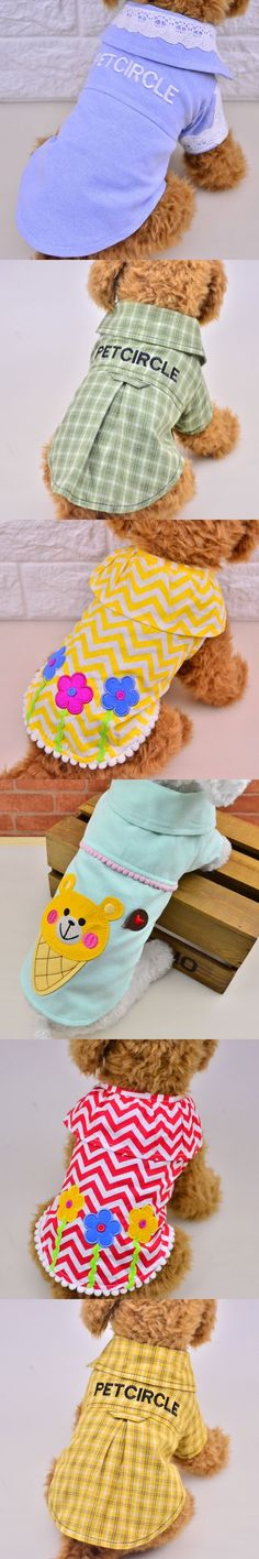 2017 Spring Summer New Pet Dog Clothes Dog Shirts 100% Cotton Teddy Clothes Size XS S M L #dogclothes