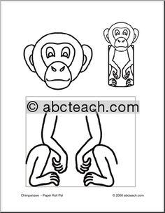 Craft: Paper Roll Pal - Chimpanzee (preschool-elem) - preview 1