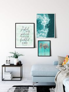 Be Joyful In Hope, Patient In Affliction, Faithful In Prayer, Romans 12:12, Christian Wall Art by LilaPrints. Bible Verses Printable, Scripture Wall Art. Perfect artwork for the modernist home or office. Modern, chic, sophisticated #nurseryquotes #kitchenwalldecorideas #wallpainting #kitchenwalldecor