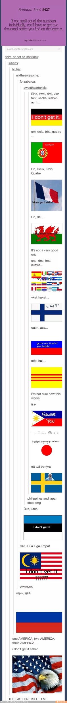 One AMERICA, two AMERICA, three AMERICA! These countries are killing me!!! #Tumblr #DEAD
