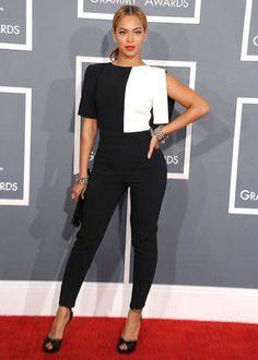 La combinaison bicolore, idéale sur red carpet !(Beyonce)