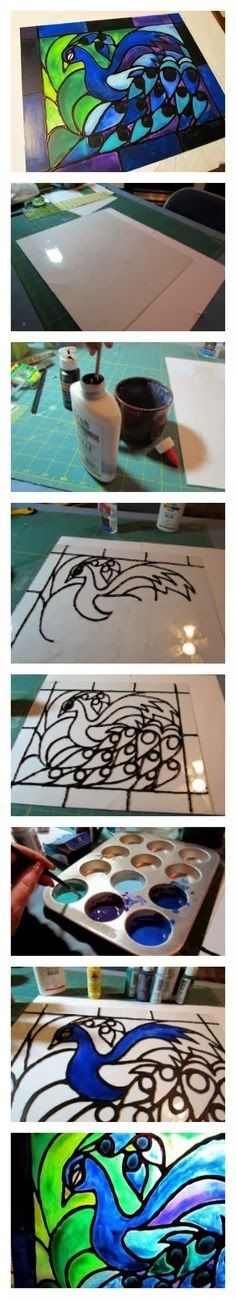 Faux stained glass created from acrylic paint and school glue! Seriously easy project!