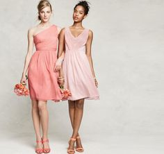 2 bridesmaids in J. crew kylie - 1 in coral as shown on the left, and 1 in misty rose. and maybe 2 in the Louisa dress on the right