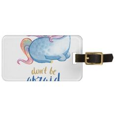 Blue Unicorn Inspirational Quote Bag Tag - accessories accessory gift idea stylish unique custom