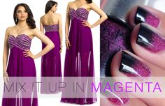 Camille La Vie Long Strapless Evening Prom Dress in Magenta with ombre nail art