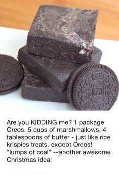 Such a great idea for a funny and yummy joke to serve at a Christmas party. Oreo coal! So much better than rice crispy treats.