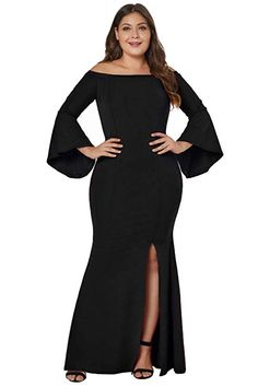 798be375cb8 FUSENFENG Womens Plus Size Off Shoulder Bodycon Slit Long Party Evening  Dress Gown (Black