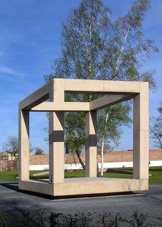 Impossible cube sculpture