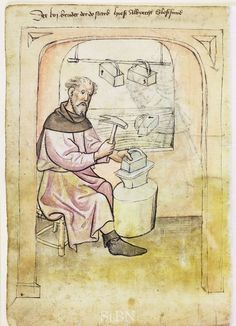 Illustration of a Locksmith, Albrecht - From the House Books of the Nuremberg Twelve Brothers Foundation, records of a charitable foundation started in the city of Nuremberg in 1388. The foundation would take 12 poor and needy people and provide them with training in a trade. Starting around 1425 their books would contain one-page illustration of the people they had helped, usually giving their name and what profession they were in. - Nuremburg, Germany - c. 1425-1450