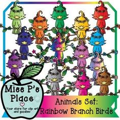 Animals Clip Art Set: Rainbow Tropical Branch Birds [Miss P's Place] This is a product of birds sitting on flower-filled branches in many different colors coming with a total of 15 images! You will get 14 colorful variations of the branch birds and 1 BW image.