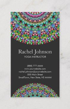 Shop Colorful Floral Mandala Business Card created by ZyddArt. Elegant Business Cards, Business Card Size, Business Card Design, Print Templates, Card Templates, Earring Cards, Flower Mandala, Colorful Flowers, Print Design