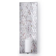 """A pair of 8"""" x 23.75"""" Mother of Pearl Sconces to flank a floating glass wall shelf over television stand. $49.95 each"""