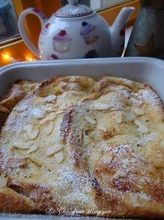 .: Pain Perdu au four. - Voici la version au four. Beaucoup moins gras - 2 oeuf - 300 ml lait - 1 c à s rhum - 4 c à suc - beurre - amande effilé - Bat oeufs et lait. Ajoute suc, rhum. Dans plat four dispose tr pain. Verse la prép lait-oeuf dessus - 180°. Laisser imbiber tr pain. Avant d'enfourner parseme noisette beurre amande effilé. Cuire 30 mn. Les amande doivent être doré. Servir chaud accompagné 1 boule glace vanille