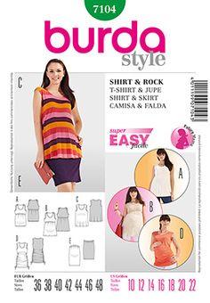 B 7104 Simplicity Creative Group - Burda Style Shirt & Skirt Maternity Sewing Patterns, Burda Sewing Patterns, Clothing Patterns, Style Patterns, Maternity Skirt, Maternity Wear, Maternity Tops, Maternity Style, Summer Maternity
