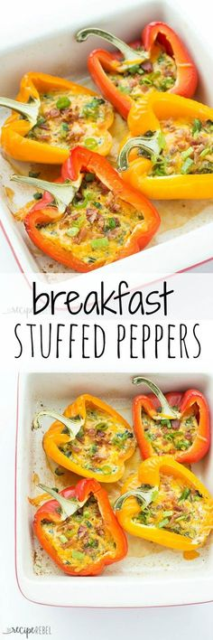 Breakfast Stuffed Peppers: Breakfast Stuffed Peppers with cheese, bacon and spinach (or use whatever fillings you like!) -- cook them in the oven or the slow cooker! A great, healthy breakfast, lunch or dinner. #healthyfood #healthybreakfast #breakfastideas