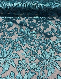 """56"""" Turquoise Floral Fashion with Sequins Lace Dress Gowns Fabric By the Yard #Fabric"""