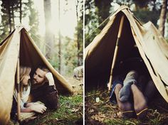 camping engagement photos tent