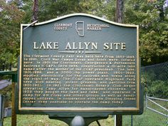 Olive Branch, OH (Apple's Settlement, Clermont County) - A county bicentennial marker for Lake Allyn, the former county fairgrounds & where the CG&P Railroad had a water pump station.