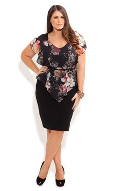 City Chic - ROSE HEAVEN DRESS - Women's plus size fashion