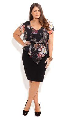 City Chic - ROSE HEAVEN DRESS - Women's plus size fashion
