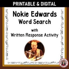 Your students are not merely finding words in the word search - they are also learning about NOKIE EDWARDS by researching what these words have to do with his life and music.►This resource is not your average word search! ►It has a research/written activity based on the words hidden in the word search. #musiceducation #mtr #mtrmusicians Learning Music, Music Education, Music Worksheets, Worksheets For Kids, Music Classroom, Classroom Resources, Child Teaching, Music Activities, Music Lessons