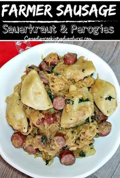 Oh for the love of good European food! This Farmer Sausage Skillet with Perogies (PIEROGI) are sauteed in a creamy dijon sauce with the addition of some lovely sauerkraut. #sauerkraut #pierogies #perogies #mustard #sausage #farmer #polish #european #recipe #recipes Saurkraut And Kielbasa, Sausage Sauerkraut, Kielbasa Sausage, Sausage Casserole, Sausage Potatoes, Paleo Recipes, Mexican Food Recipes, Great Recipes, Drink Recipes